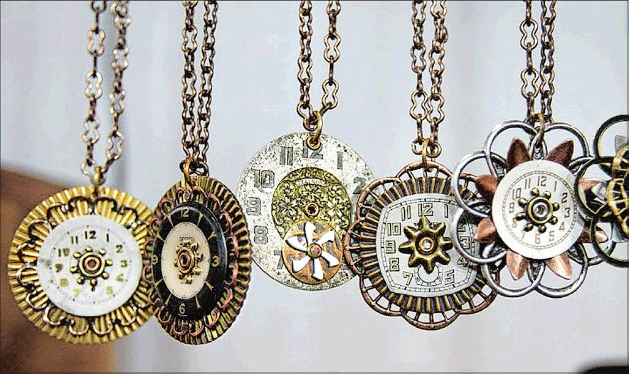 Handmade Necklaces From Antique Timepieces Are On Display At The Anne Made Design Booth Foundry Artists Association Holiday Show