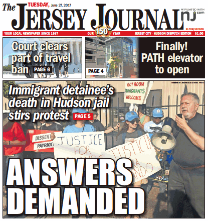 The Jersey Journal, Todays Headline