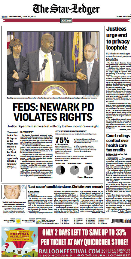 The Star-Ledger Powering NJ.COM, Todays Headline
