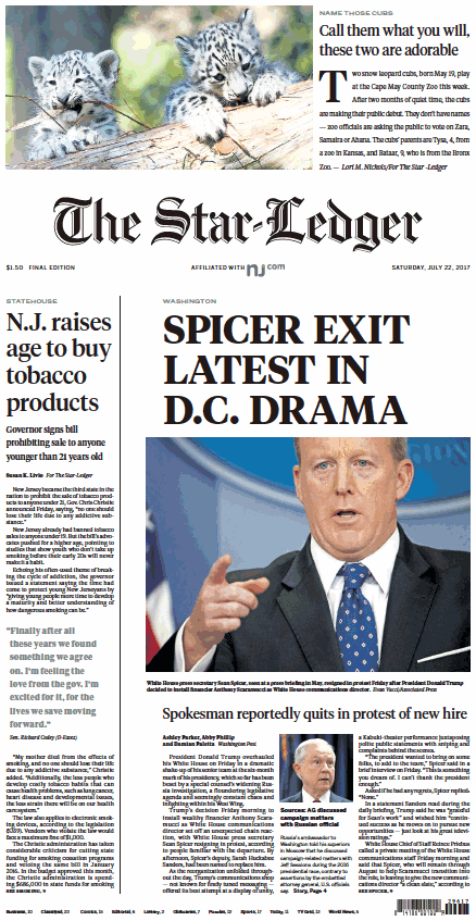 The Star-Ledger, Todays Headline
